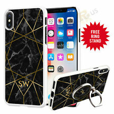 Personalised Marble Phone Case Cover & Finger Ring Stand For Top Mobiles 071-5