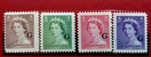 """Canada #033 - #036 MNH """"G"""" Overprint """"QE II Karsh Portrait"""""""