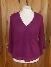 1MAX urgundy purple-red chiffon 3/4 sleeve embroidered kaftan tunic top 20 48