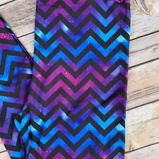 Chevron Galaxy Purple Blue Women's Leggings One Size OS 2-10