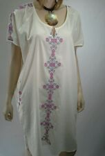 MANDALAY DESIGNS By Emma Strauss Size L CREAM Cotton Embroidery Shift Dress $159