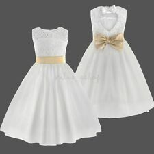 Flower Girl Dress Bowknot Wedding Bridesmaid Party Pageant Princess Formal Gown