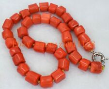 """Natural Rare 11x14mm Cylinder Orange Red Coral Gemstones Necklace 18""""AAA"""