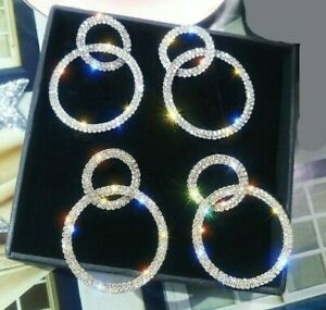 Womens Silver Gold Hoop Crystal Earrings Big Circle Dangle Long Drop Fashion UK