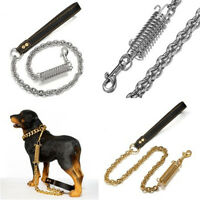 "DOG LEASH STAINLESS STEEL CHAIN LINK-30"" W/LEATHER HANDLE For Walking Running"