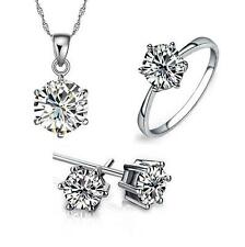 Hearts Arrows zircon 925 Sterling silver Necklace earrings Ring jewelry Set