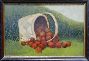 Great 19th OO Board Still Life Of Spilling Basket Of Strawberries Signed ES '95