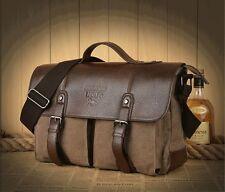 Vintage Men's Canvas Leather Messenger Shoulder Bag Briefcase Satchel coffee