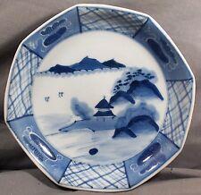 Antique Japanese Blue White Sansui Porcelain Imari Octagon Plate-Landscape-19th