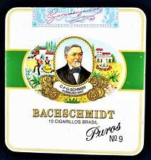 Box Metal Tin Vintage Cigarette Case Bachschmidt 10 Cigarillos Brasil Puros №9