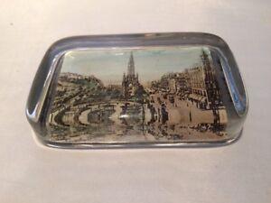 Antique Glass Souvenir Picture Paperweight. Princes Street Edinburgh.