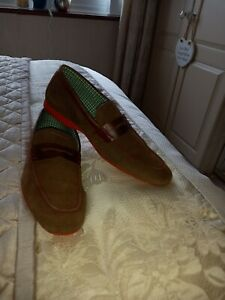 Mens Tan Suede Loafers Shoes Size 10 Immaculate