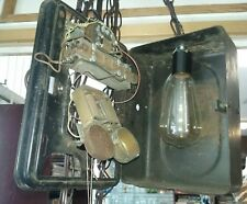 Man Cave Decor Converted Vntg Iron Metal School Bell To Industrial Hanging Lamp
