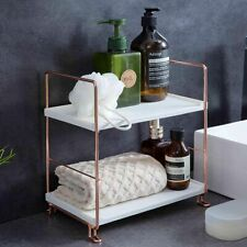 2 Tiers Kitchen Bathroom Countertop Shelf Corner Storage Rack Organizer Metal