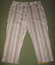 Chiberta Stretch Brown Stripe 3/4 Length High Rise Trousers 14