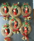 LOT OF 6 Vintage Napco Knee-Hugger Pixie Elves Gold Plastic Christmas Wreaths