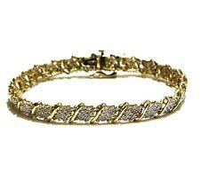 "10k yellow gold 7"" 2ct SI3-I1 H round diamond cluster tennis bracelet 9.5g rare"