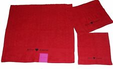 3 Betsey Johnson Red or White Puffy Hearts Bath/Hand/Wash Cloth Towels Set NWT
