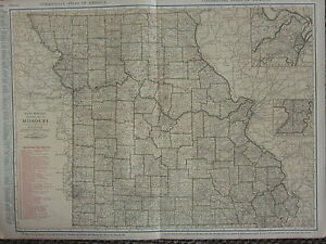 1922 LARGE AMERICA MAP MISSOURI RAILROADS CITIES ST LOUIS VICINITY RAND MCNALLY