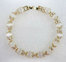 White Opal Beads Crystal Yellow Gold Plated Link Clasp Bangle Bracelet