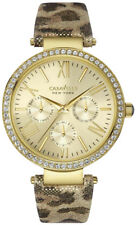 CARAVELLE NY Women's 38mm Genuine Leather Band Steel Case Quartz Watch 44N103