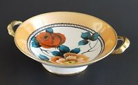 Noritake M Peach Lusterware Pedestal Bowl Hand Painted Roses Flowers Floral
