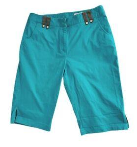 Callaway Golf Women's Teal Blue Casual Flat Front Capri Pants Double Clip Size 4