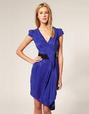 Nuevo Karen Millen Mujer Cupro Drapeado Vestido Azul Negro Talla 10 GB 38 BNWT