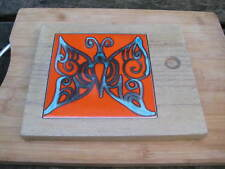 WOODEN BOARD WITH INSERT BUTTERFLY DESIGN TILE retro GROOVY design