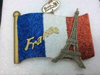 CHRISTMAS ORNAMENT RESIN FRENCH FLAG WITH EIFFEL TOWER BLUE GOLD WHITE