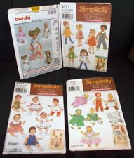 Lot of 4 Baby Doll Clothes Patterns Clothing Sewing Burda Simplicity Outfits