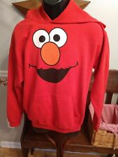 ELMO HOODIE SWEATSHIRT MEN'S SIZE M RED SOLID POCKET FRONT By GILDAN