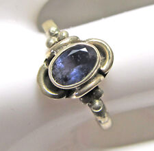 Dainty blue faceted iolite and sterling silver ring, size 6