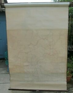 VINTAGE WOODEN WALL MOUNTED PULL DOWN ROLL UP LINEN MAP BY EDWARD STANFORD 1916