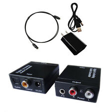Digital Optical Coaxial Toslink Signal to Analog Audio 3.5 Converter Adapter RCA
