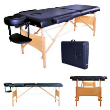 "2 Pad 84""Black Portable Massage Table w/Free Carry Case Bed Spa Facial Treatment"
