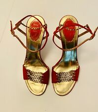 Rene Caovilla Red Chain With Crystal High Heel Sandals Shoes Size 38