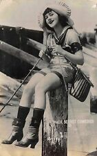 RPPC Mack Sennet Comedies Bathing Beauty Pin Up Girl Fishing From a Pier~112786