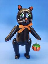 Midwest of Cannon Falls Halloween Black Cat & Jack o lantern wooden figurine Vtg