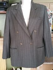 Womens Ralph Lauren Dbl Breasted Blazer- Worsted Wool Size 12P Gray Pin Striped