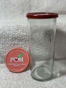 Vintage Pom Tea Glasses Raised Embossed Clear Design 2 lids