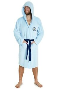 Manchester City F.C. Mens Dressing Gowns, Football Fleece Hooded Robe