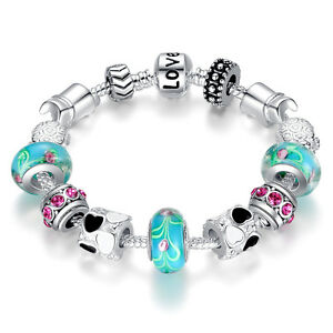 20CM 925 Silver Blue Murano Glass Beads Love Charm Bracelet with All Charms
