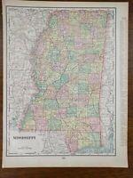 """Vintage 1903 MISSISSIPPI Map 11""""x14"""" ~ Old Antique Original JACKSON VICKSBURG"""