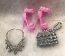 Barbie Style Doll Fashionistas 2013 Accesses Silver Purse Shoes Necklace