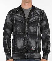 AFFLICTION Mens Sweat Shirt ZIP UP Jacket POWER WELD Solid BLACK Biker $74