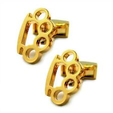 BRASS KNUCKLES CUFFLINKS Gold Plate NEW Gangster GIFT BAG Novelty Knuckle Duster