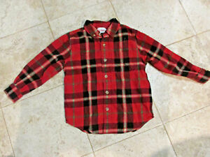 $55 Hanna Andersson Shirt Fireside Cotton Flannel Red Plaid Pocket Boys SZ 110 5