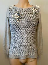 Mint Velvet Jumper Top Ladies Womens Size 10 Grey Jewel Embellished Smart