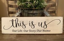 """12"""" Rustic Wood Sign THIS IS US Life Family Welcome Farmhouse Home Decor Love"""